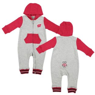 Wisconsin Badgers Colosseum Gray Infant Axel Hooded Romper