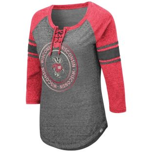 Wisconsin Badgers Colosseum Gray Women's Carrie Lace Up Long Sleeve T-Shirt