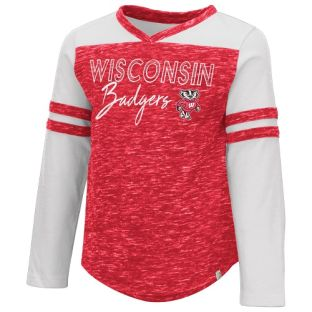 Wisconsin Badgers Colosseum Red Toddler Girls Pipsqueak Long Sleeve T-Shirt