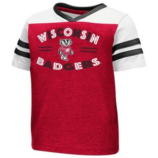 Wisconsin Badgers Colesseum Red & White Toddler Girls Good Feathers T-Shirt