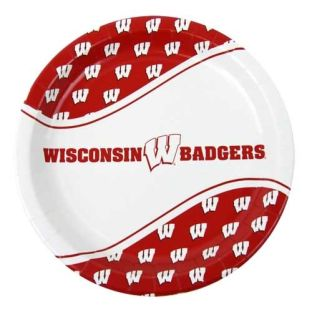 "Wisconsin Badgers 9"" Round Paper Plates"