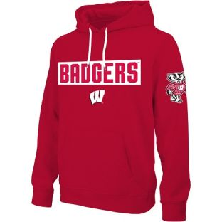 Wisconsin Badgers E5 Red Tackle Twill Badgers Block Hooded Sweatshirt