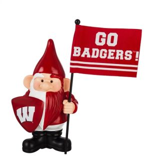 Wisconsin Badgers Red & White Gnome With Flag