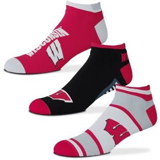 Wisconsin Badgers For Bare Feet Show Me Money 3 Pack No-Show Sock