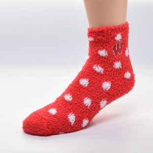 Wisconsin Badgers Red Polka Dot Sleep Sock