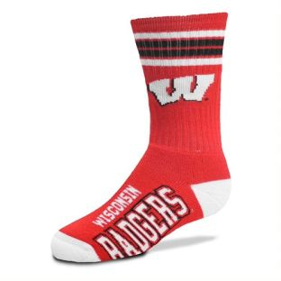 Wisconsin Badgers For Bare Feet Red Youth 4 Stripe Deuce Sock