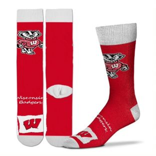 Wisconsin Badgers For Bare Feet Red Mascot Flag Sock