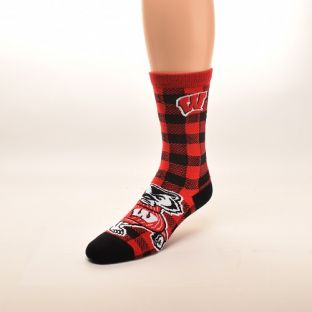 Wisconsin Badgers For Bare Feet Red & Black Buffalo Plaid Sock