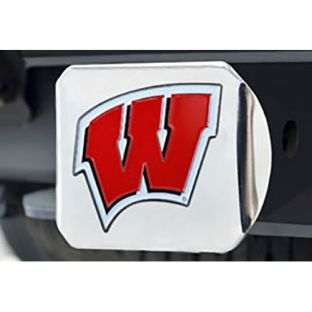 Wisconsin Badgers Red W Chrome Hitch Cover