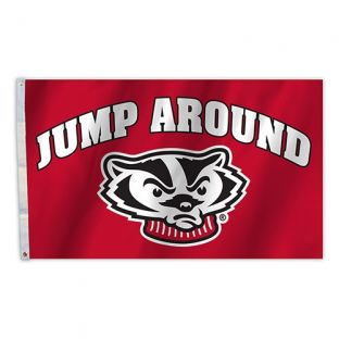 Wisconsin Badgers 3x5 Jump Around Bucky Flag
