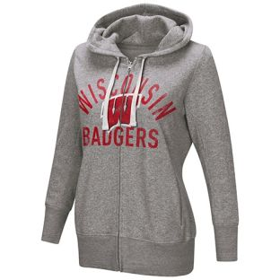 Wisconsin Badgers G-III Women's Heather Gray Post Season Zip Hooded Sweatshirt
