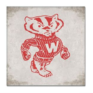 Wisconsin Badgers Retro Bucky 9 x 9 Canvas Wall Art