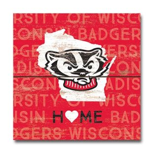 Wisconsin Badgers Bucky State Wood Magnet