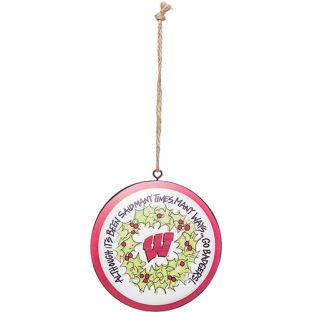 Wisconsin Badgers Circular Metal Ornament