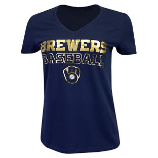 Milwaukee Brewers Majestic Navy Women's Matchless Vision V-Neck T-Shirt