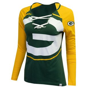 Green Bay Packers Majestic Green & Gold Lace Up Long Sleeve T-Shirt