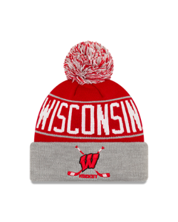 Wisconsin Badgers Hockey New Era Pride A3 Cuffed Pom Knit