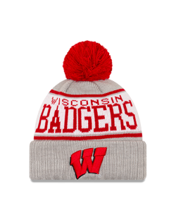 Wisconsin Badgers New Era Gray Stripe A3 Cuffed Pom Knit