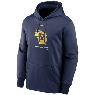 Milwaukee Brewers Nike Navy 2020 Legacy Therma Hooded Sweatshirt