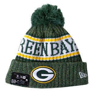 Green Bay Packers New Era 2018 Sideilne Cuffed Pom Knit
