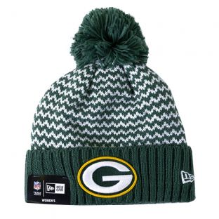 Green Bay Packers New Era Green Women's Pattern Cuffed Pom Knit
