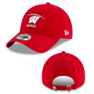 Wisconsin Badgers New Era Red Football Athlete Adjustable Cap