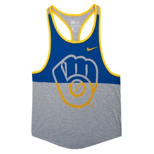 Milwaukee Brewers Nike Royal & Gray Triblend Racer Tank