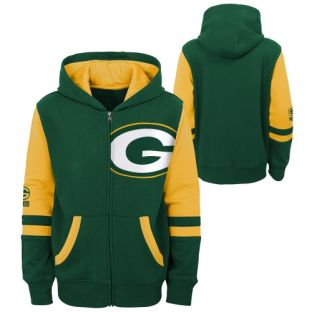 Green Bay Packers Outerstuff Green 4-7 Stadium Offset Full Zip Hooded Sweatshirt