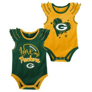 Green Bay Packers Outerstuff Infant Girls All Love 2 Pack Onesies