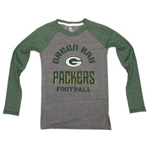 Green Bay Packers Gray & Green Youth Gridiron Raglan Long Sleeve T-Shirt