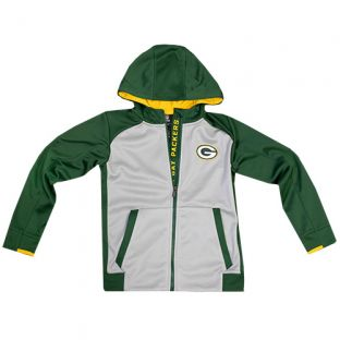 Green Bay Packers Gray Youth Hi-Tech Full Zip Hooded Sweatshirt