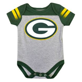 Green Bay Packers Gray & Green Infant Lil Blocker Onesie