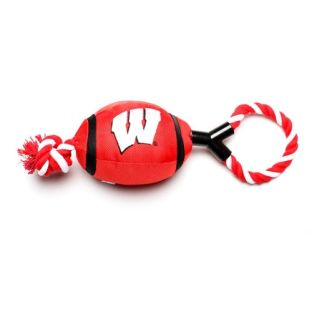 Wisconsin Badgers Football with Rope Dog Toy