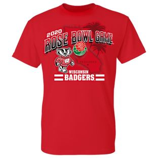 Wisconsin Badgers Red 2020 Rose Bowl Cali Short Sleeve T-Shirt