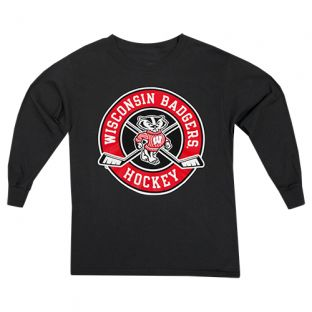 Wisconsin Badgers Hockey Black Youth Round About Long Sleeve T-Shirt