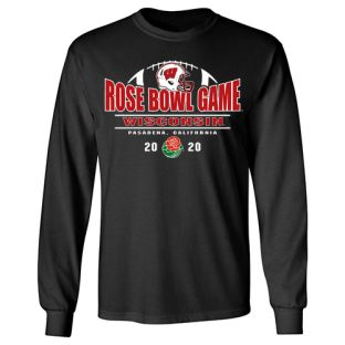 Wisconsin Badgers Black 2020 Rose Bowl Ball Long Sleeve T-Shirt