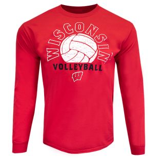 Wisconsin Badgers Volleyball Red Shaded Long Sleeve T-Shirt