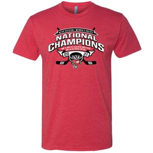 Wisconsin Badgers Red 2021 Women's Hockey National Champions Cross Stick T-Shirt