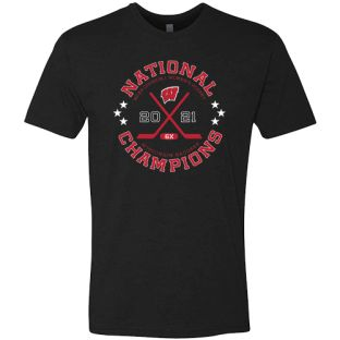 Wisconsin Badgers Black 2021 Women's Hockey 6X National Champions Circle T-Shirt