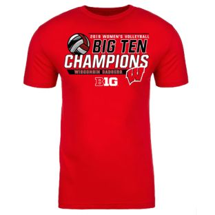 Wisconsin Badgers Volleyball Red 2019 Big Ten Champs Heat T-Shirt