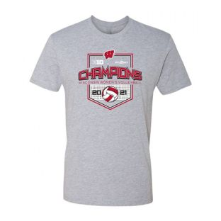 Wisconsin Badgers Gray 2020-2021 Volleyball Big 10 Champions Net T-Shirt
