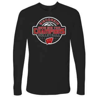 Wisconsin Badgers Volleyball Black 2019 Big Ten Champs Ace Long Sleeve T-Shirt