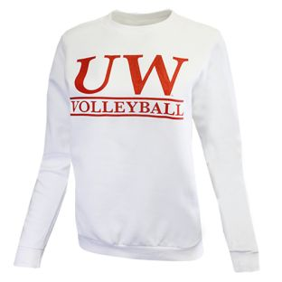 Wisconsin Badgers Volleyball White Women's Bar Crewneck Sweatshirt