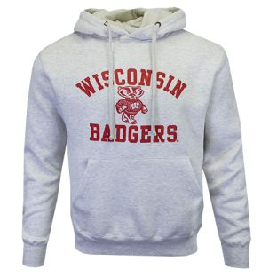 Wisconsin Badgers Ash Gray Bucky Afton Hooded Sweatshirt