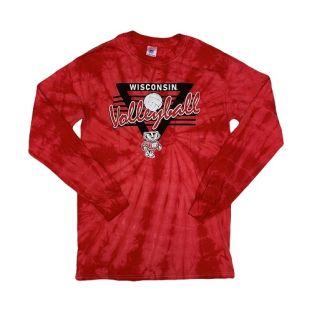 Wisconsin Badgers Red Volleyball Tie Dye Triangle Long Sleeve T-Shirt