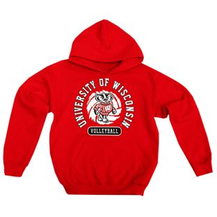 Wisconsin Badgers Volleyball Red Youth University Hooded Sweatshirt