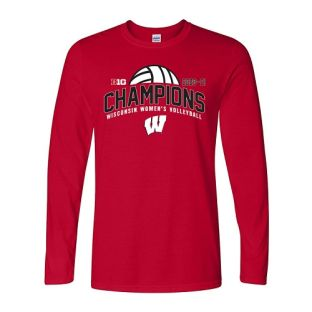 Wisconsin Badgers Red 2020-2021 Volleyball Big 10 Champions Spike Long Sleeve T-Shirt