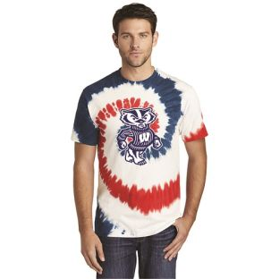 Wisconsin Badgers Red White & Blue Bucky USA Tie Dye T-Shirt