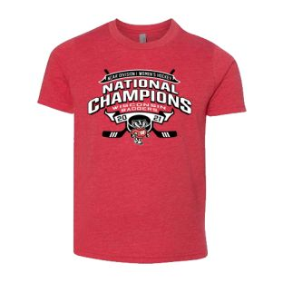 Wisconsin Badgers Red Youth 2021 Women's Hockey National Champions Cross Stick T-Shirt