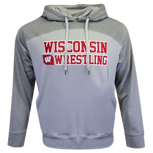 Wisconsin Badgers Wrestling Gray Polar Angle Hooded Sweatshirt